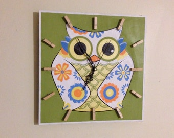Birthday gift idea. OWL Clock, FUN and Colorful Kids Clock, Funny Wood Wall Clock, Baby Nursery, Kids bedroom decor