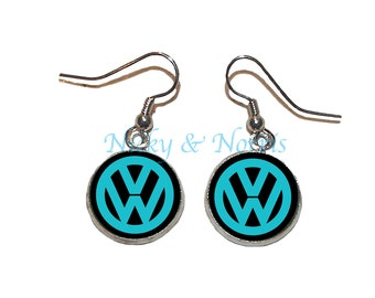 Teal and Black VW Earrings - Made to Order