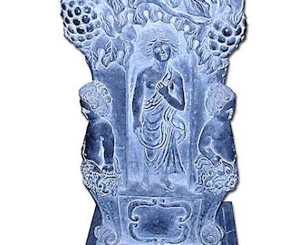 69.506 Black Marble Pedestal, Intricately Carved