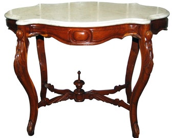 1114 Beautiful Antique Victorian Marble Top Table