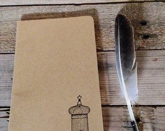 Antique birdcage hand stamped journal