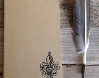 Fleur de lis hand stamped journal