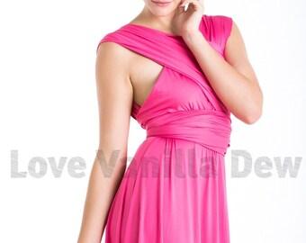 Bridesmaid Dress Infinity Dress Shocking Pink Floor Length Maxi Wrap Convertible Dress Wedding Dress