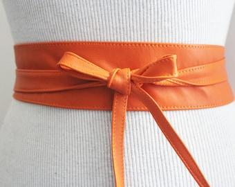 Orange soft Leather Narrow Obi Belt | Bridesmaid Sash Belt | Leather Shirt Dress Belt| Handmade Belt | Tie Belt