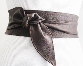 Leather Dark Brown Grain Obi Tulip Tie Belt | Leather corset wrap Belt | Leather belt | Waist Cincher Belt | Plus Sizes Available
