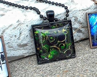 "Green Glitched Lillypad Digital Artwork Pendant w/ 24"" Black Ball Chain And Bezel"