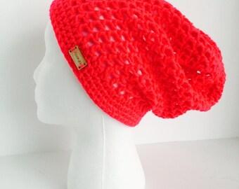 Crochet Slouchy Mesh Hat | Neon Pink | iHat v3.0