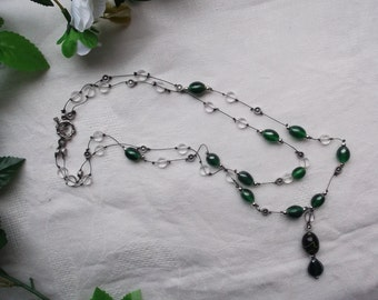 Handmade, knotted beaded necklace