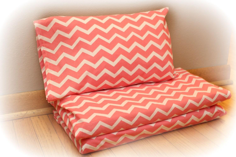 Coral Chevron Print Nap Mat Cover Pillow Case Kindermat