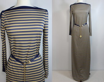 Stunning 70's Striped Maxi Sheath Dress