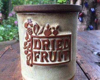 Vintage Dried Fruit Storage Container. Jar. Kitchen Counter. Cool Jars. Stoneware.