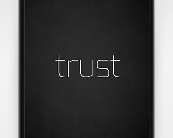 Wall art, PRINTABLE, trust, chalkboard, black and white, faith wall art, religious decor, church print, Christian wall art, 8x10 or 16x20