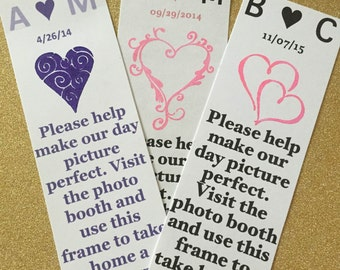 Qty100 - Heart - Photo Booth Frame Insert - Different Colors and Designs Available