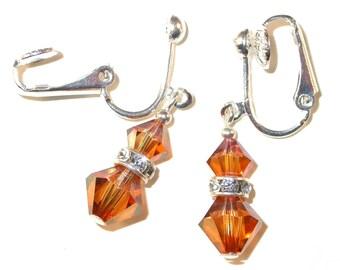 Golden TOPAZ Crystal Earrings Sterling Silver Dangle Swarovski Elements - Clip-on or Pierced