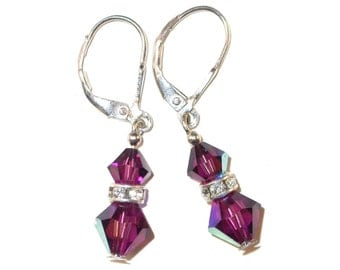 Purple AMETHYST Crystal Earrings Sterling Silver Dangle Swarovski Elements - Clip-on or Pierced