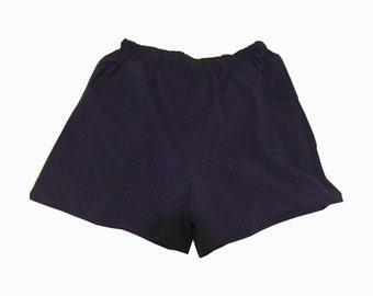 Navy Blue Elastic Waist Shorts