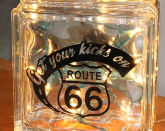 """Route 66 Road Sign """"Get Your Kick On"""" Black Vinyl Decal for Glass Block"""