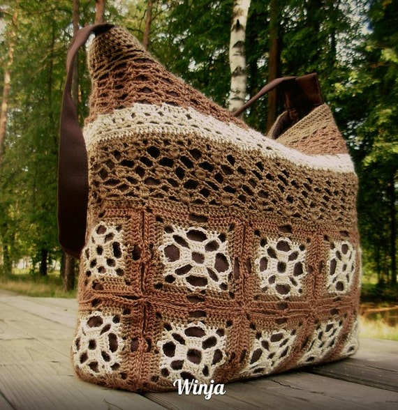 Crochet Boho Bag : Crochet boho bag, knitted bag, tote bag, brown textile knit bag, hand ...
