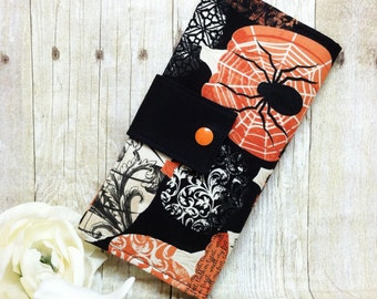Halloween Pumpkins womans wallet, Bifold clutch wallet, handmade fabric wallet, credit card money wallet, checkbook wallet, slim wallet