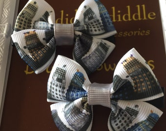 Dr Who Dalek Inspired Double Bow Hair Clip Set