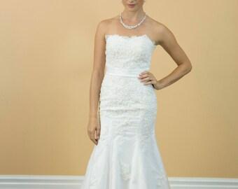 Gorgeous Mermaid Lace beading Satin belt Brush train Wedding dress