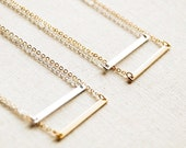 Simple Bar Link Charm Necklace in 14K Gold Filled or Sterling Silver