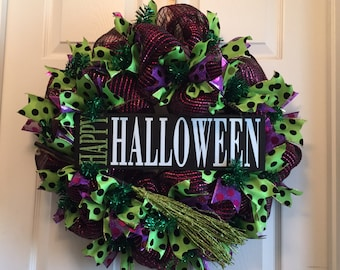 Deco Mesh Halloween Wreath, Happy Halloween Wreath, Whimsical Mesh Fall Wreath