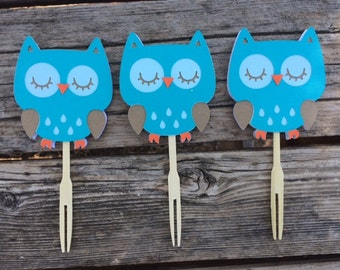12 Woodland Owl Cupcake Toppers,  Baby Shower, Birthday Party, Owl Party, First Birthday