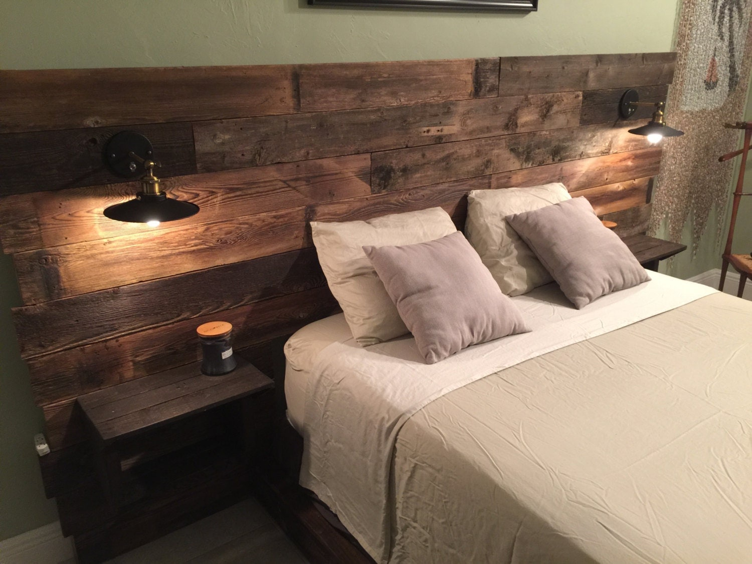 rustic headboard reclaimed headboard nightstand by cecustoms. Black Bedroom Furniture Sets. Home Design Ideas