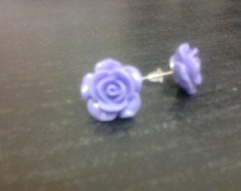Earrings nail-shaped rose - purple 10mm