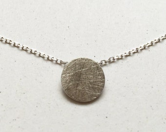 Brushed 925 Sterling Silver Circle Disc Necklace