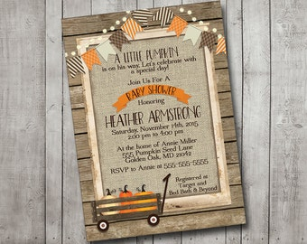 Boy Or Girl Baby Shower Invitation Pumpkin Fall Autumn Wagon Rustic Burlap Orange Bunting Banner Lights Wood Shabby Printable Custom Digital