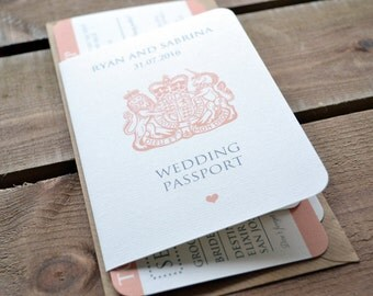 SAMPLE ONLY - Wedding Invitation - Personalised Destination Wedding Invitation Passport & Boarding Pass Suite including DL Kraft Envelope