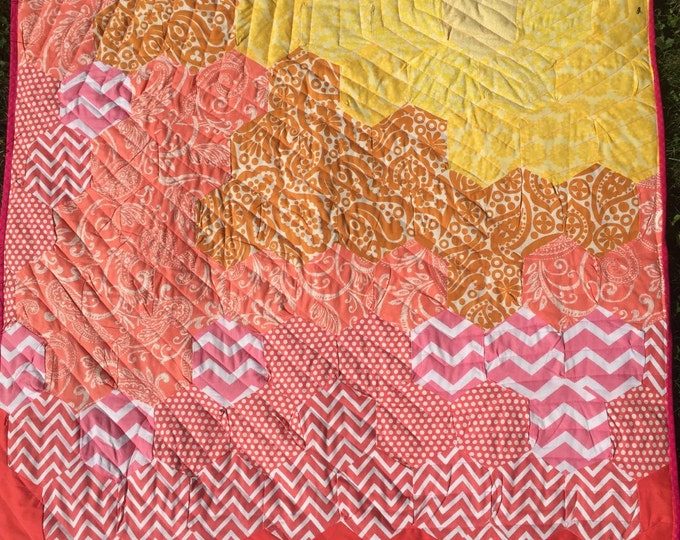 Handmade Modern Baby Girl Quilt, Pink Fuscia Orange Yellow Hexagons - Great Gift for Babies