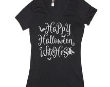 Happy Halloween Witches Halloween vneck Shirt. Funny Hocus Pocus Shirt for women and men. Halloween shirt for women. Halloween costumes.
