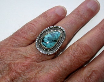 SPIDERWEB TURQUOISE RING, sterling silver, natural turquoise, morenci turquoise, southwest ring, turquoise jewelry, southwest jewelry,size 8