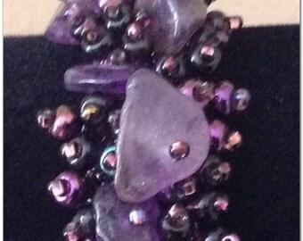 Beaded Bracelet. Beaded Jewelry. Purple Bracelet.