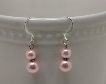 Lt. pink pearl fishhook earrings E 448