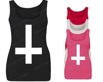 Inverted White Cross Women Tank Top Christian Tank Tops