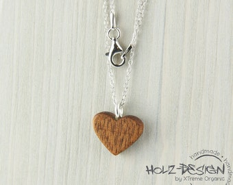 925 Silver Necklace Heart woodneclace wooden geometric minimal handmade organic jewelry natural wood