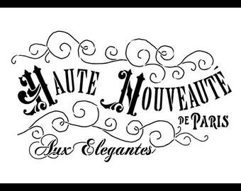 Haute Nouveaute Word Art Stencil - Select Size- STCL893