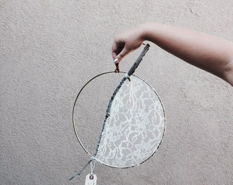 L A R G E // lace + twig hanging