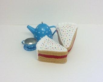 Play Food Crochet Birthday Cake Slice, Gift, Amigurumi