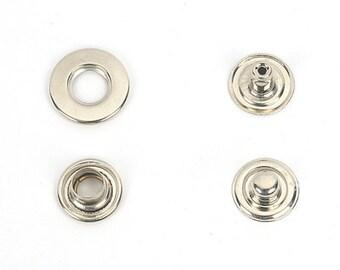 15mm(diameter) Hole Snap (rivet) and brass metal Studs, Anti-rust,Made in Korea,(10 Set=40 Pieces)making asscessories-MLT-902