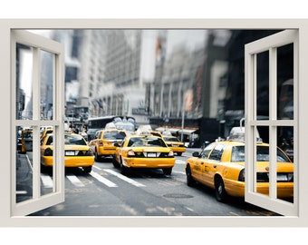 Window Frame Mural New York Cabs Taxis   Huge Size   Peel And Stick Fabric  Illusion