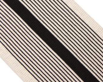 "6"" Black Striped Ivory Ribbing"