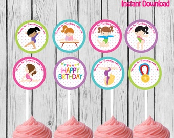 Gymnastic Cupcake Toppers, Gymnastic Stickers, Gymnastic Party Printable, Gymnastic favors DIY, Instant Download