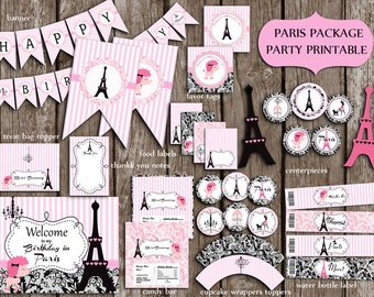 Paris Eiffel Party Package PERSONALIZED,Eiffel Birthday Party,Paris Party Supplies,Banner,sign  PRINTABLE DIY