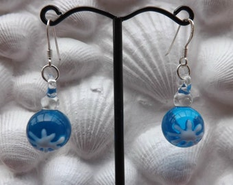 Blue Christmas earrings. Glass lampwork Christmas baubles with sterling silver ear wires