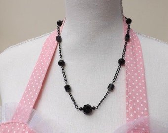Black glass and chain necklace, Gothic necklace,